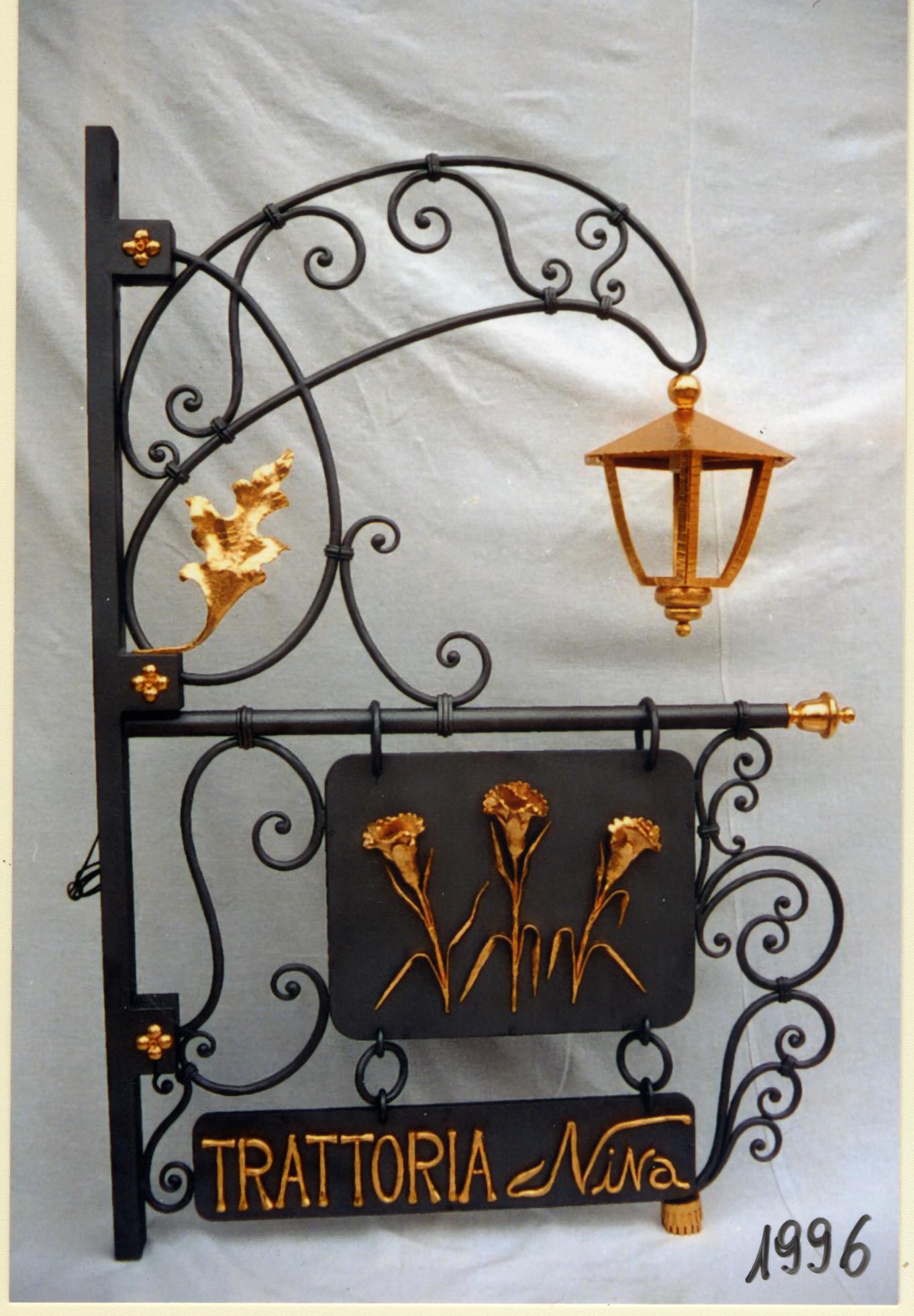 Trattoria Nina 1996 - Montorso (Vicenza) Insegna Bifacciale ferro battuto e bagno oro - Lato B