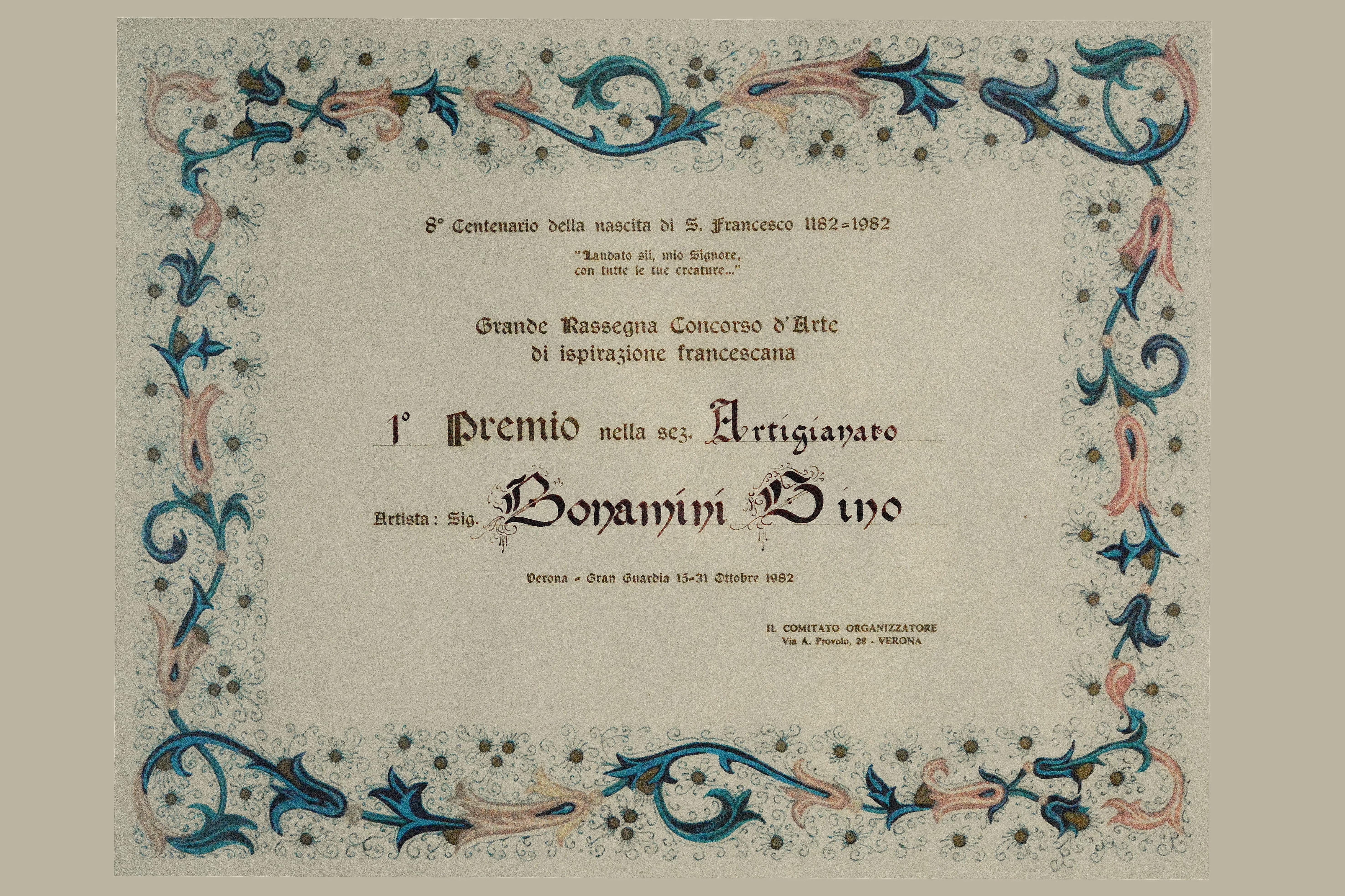 """1982 - """"Attestato primo premio"""""""