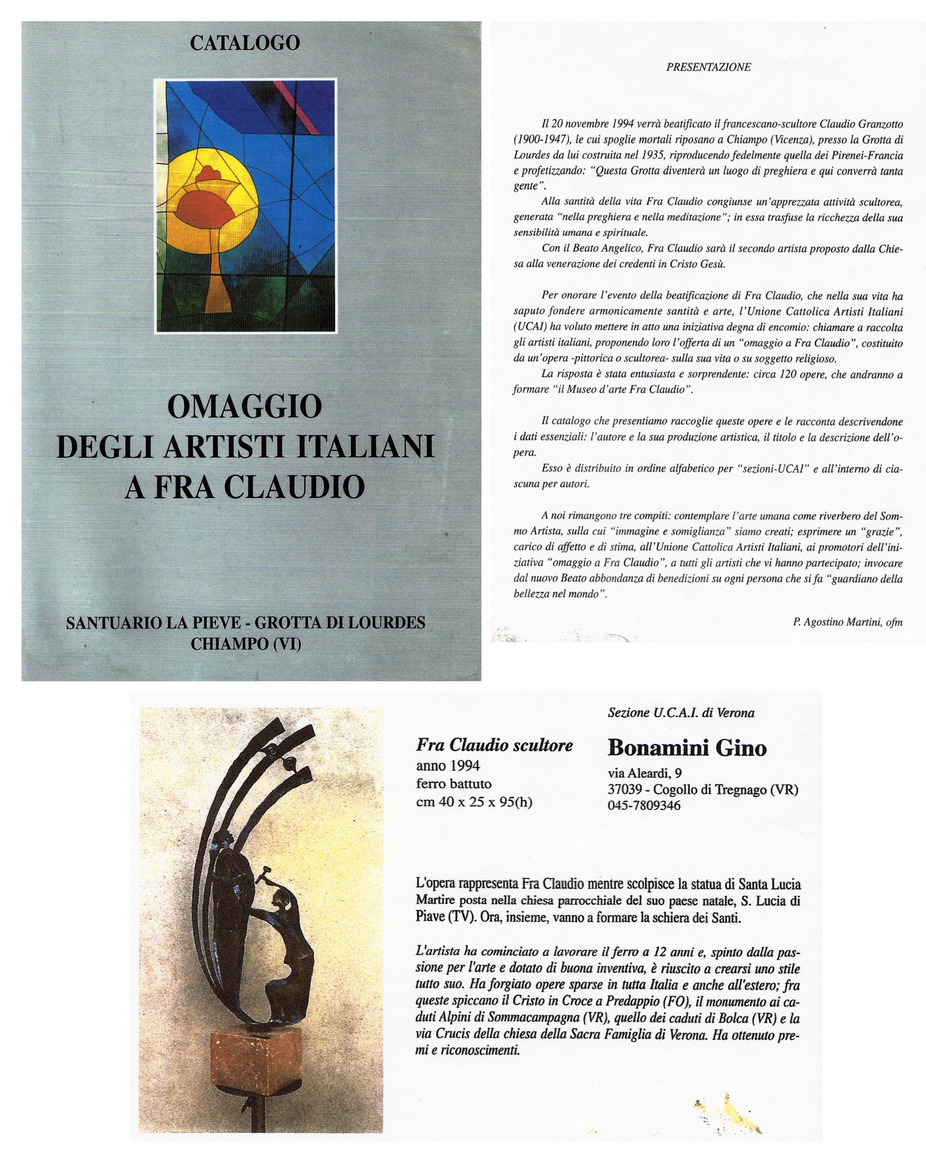 1994 - Catalogo omaggio degli Artisti Italiani a Fra' Claudio + Presentazione + Descrizione dell'opera